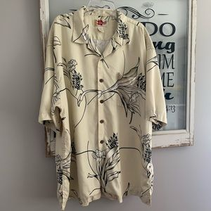 Men's Hawaiian 100% Silk Button Shirt Sz L